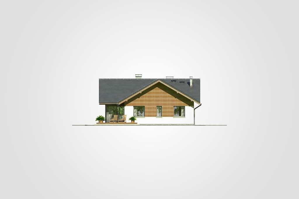 Фасад одноэтажного дома с террасой и гаражом «КО-76» - справа