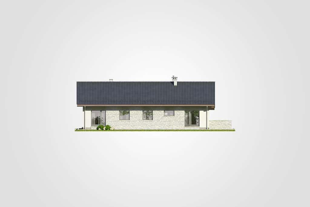 Фасад одноэтажного дома с террасой «КО-85» - сзади