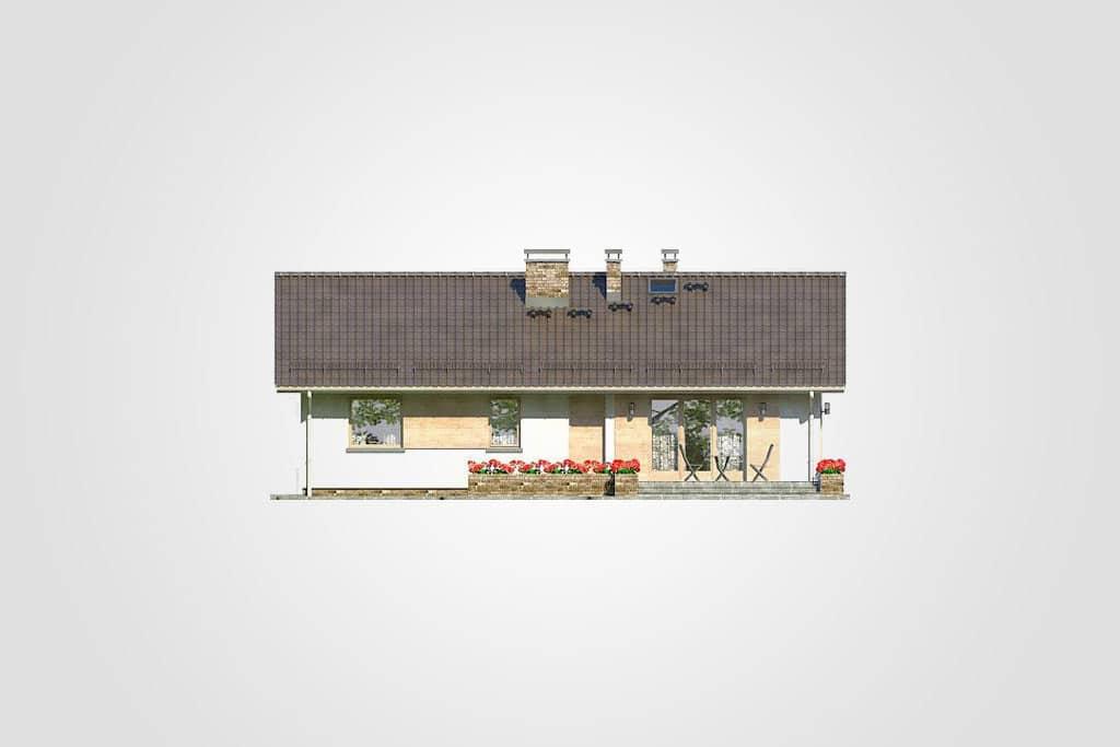 Фасад одноэтажного дома с террасой «КО-87» - сзади