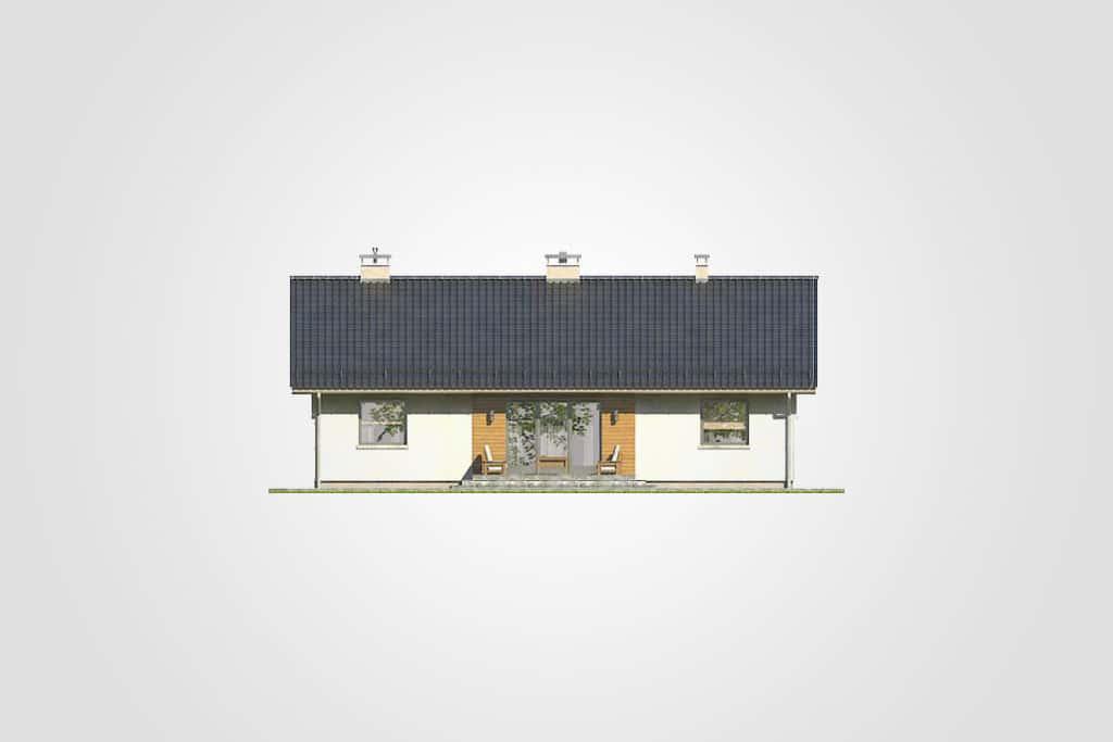 Фасад одноэтажного дома с террасой «КО-88» - сзади