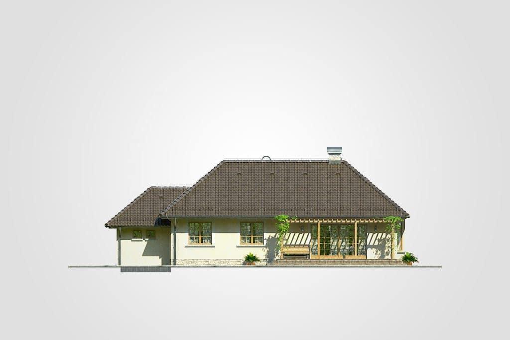 Фасад одноэтажного дома с гаражом и террасой «КО-90» - сзади