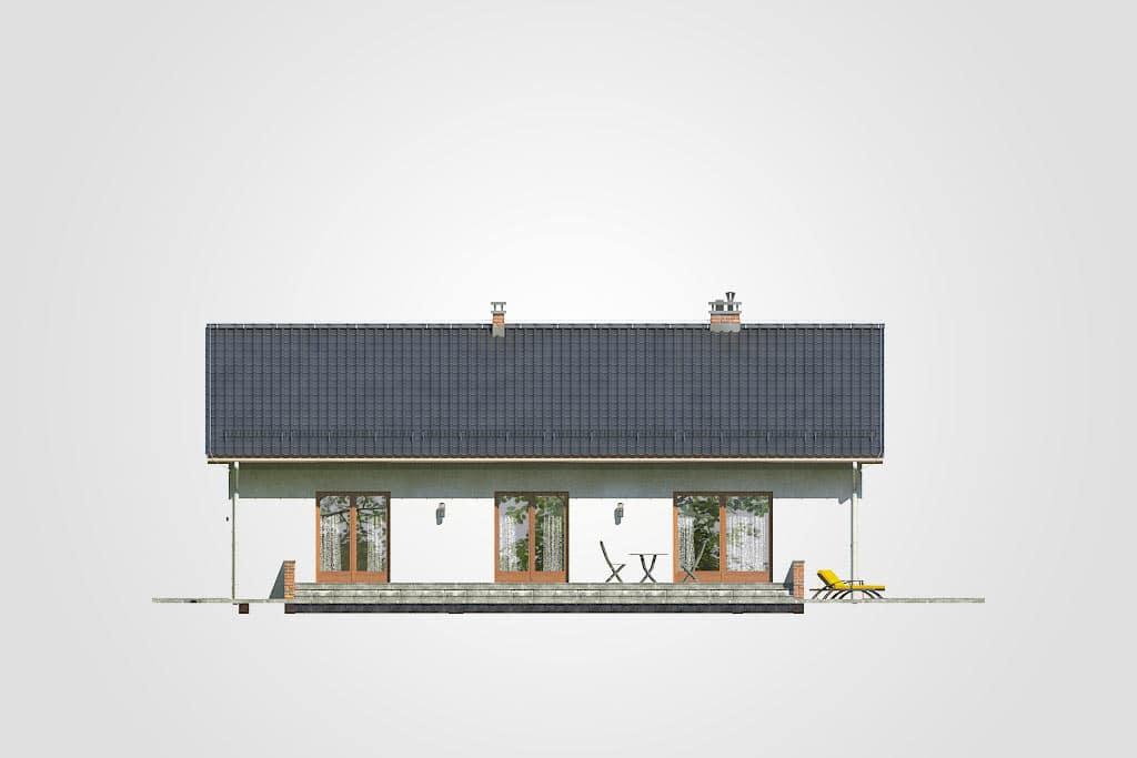 Фасад одноэтажного дома с гаражом и террасой «КО-91» - сзади