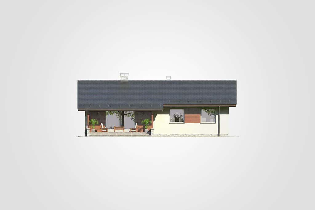 Фасад одноэтажного дома с террасой «КО-93» - сзади