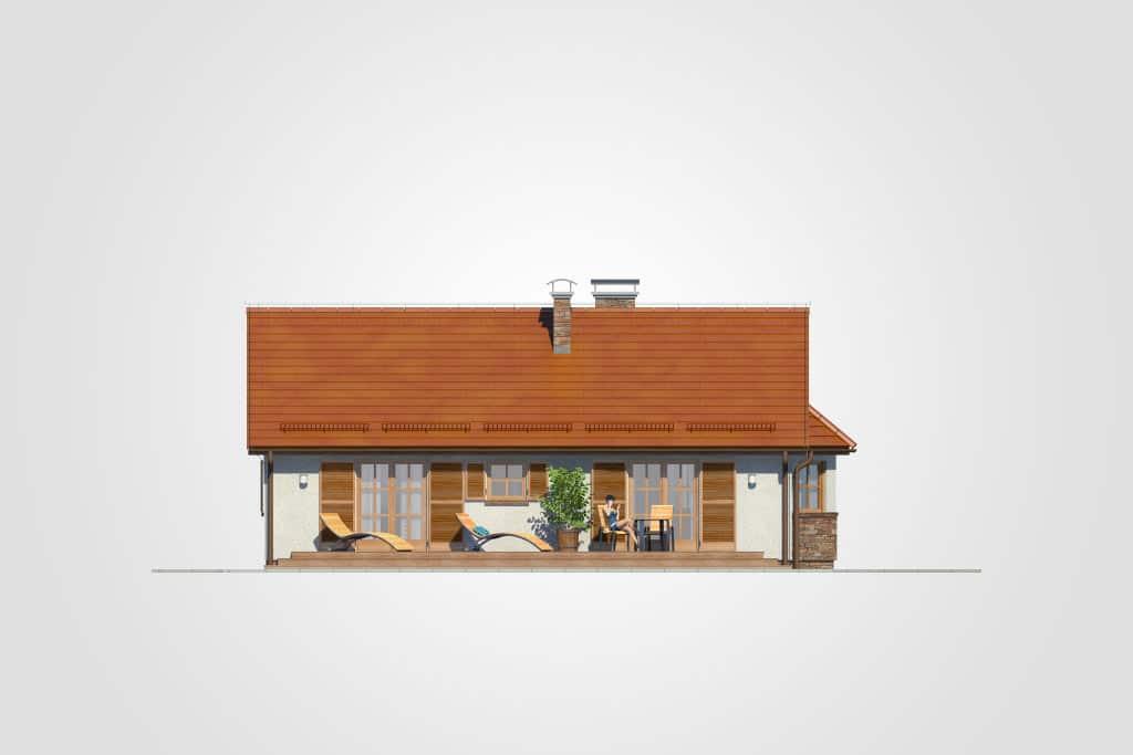 Фасад одноэтажного дома с террасой «КО-94» - сзади