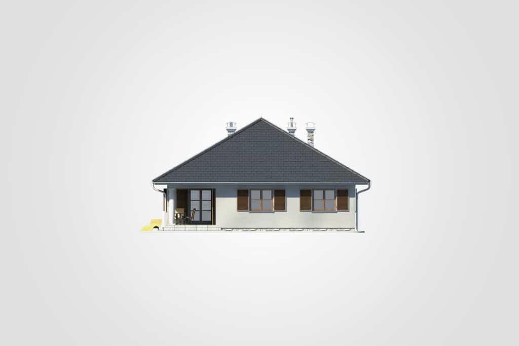 Фасад одноэтажного дома с террасой «КО-77» - сзади