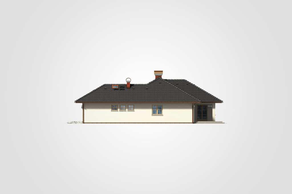 Фасад одноэтажного дома с гаражом и террасой «КО-96» - справа