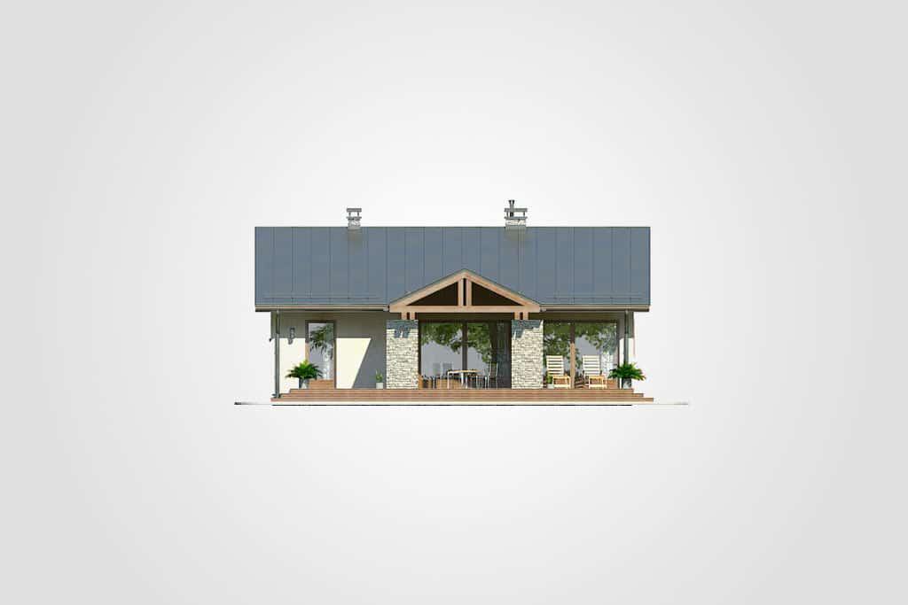 Фасад одноэтажного дома с террасой «КО-98» - сзади