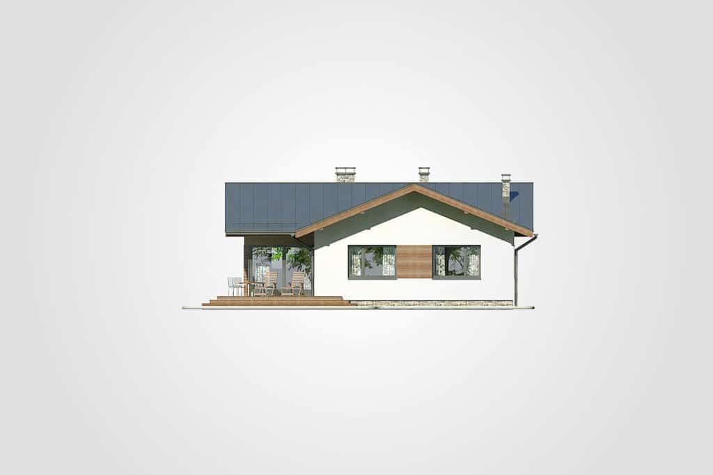 Фасад одноэтажного дома с террасой «КО-99» - сзади