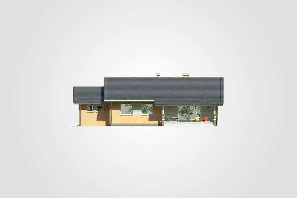 Фасад одноэтажного дома с гаражом и террасой «КО-100» - сзади