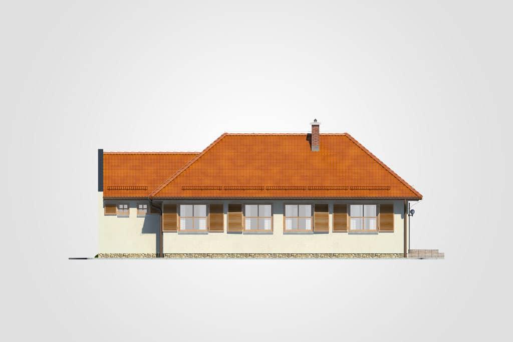 Фасад одноэтажного дома с гаражом и террасой «КО-101» - сзади