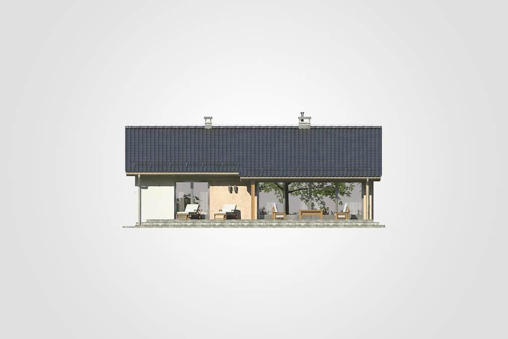 Фасад одноэтажного дома с террасой «КО-102» - сзади