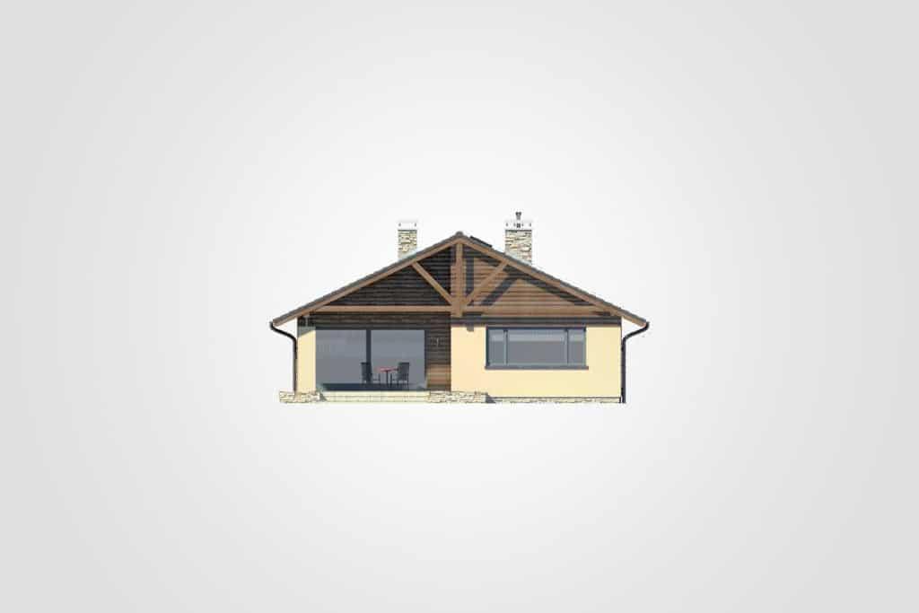 Фасад одноэтажного дома с гаражом и террасой «КО-103» - справа
