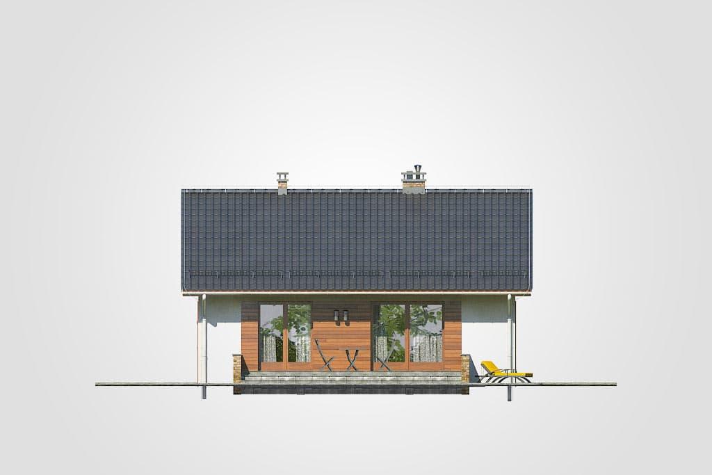 Фасад одноэтажного дома с террасой «КО-105» - сзади