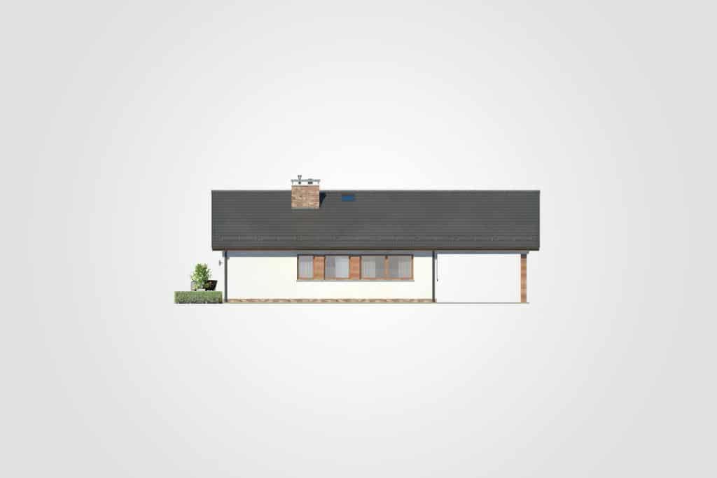 Фасад одноэтажного дома с гаражом и террасой «КО-108» - сзади