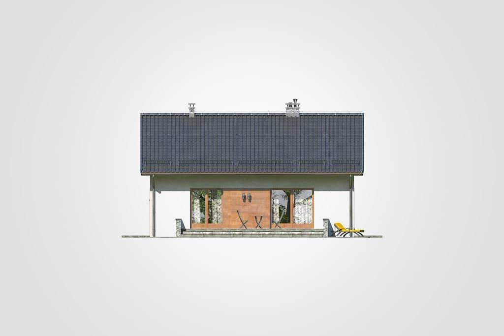 Фасад одноэтажного дома с террасой «КО-109» - сзади