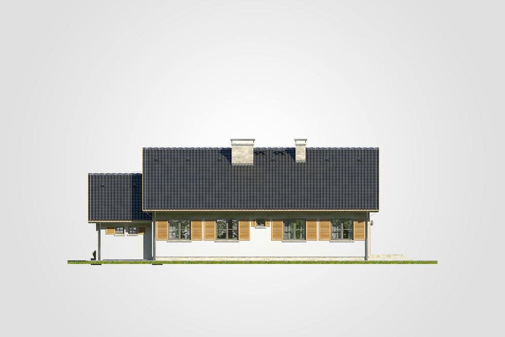 Фасад одноэтажного дома с террасой и гаражом «КО-112» - сзади
