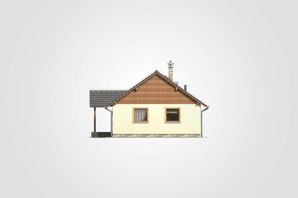 Фасад одноэтажного дома с террасой «КО-113» - справа