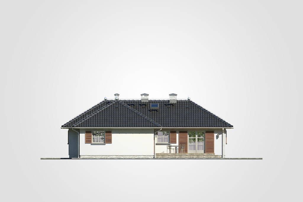 Фасад одноэтажного дома с террасой «КО-114» - сзади