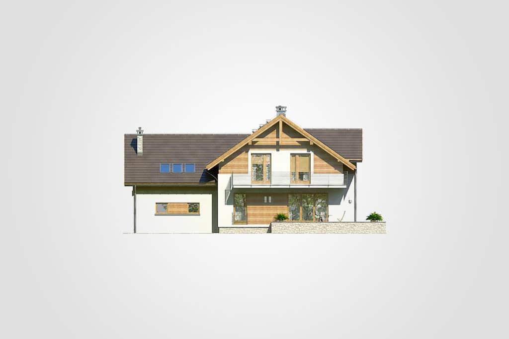 Фасад мансардного дома с гаражом, террасой «КМ-65» сзади
