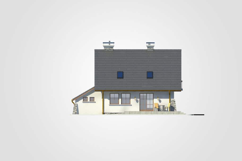 Фасад мансардного дома с гаражом, террасой и балконом «КМ-66» - сзади
