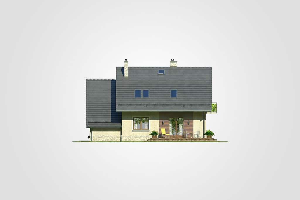 Фасад мансардного дома с гаражом, террасой и балконом «КМ-67» - сзади