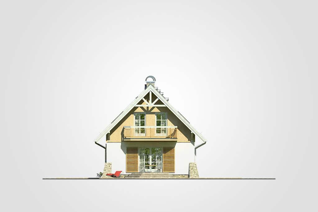 Фасад мансардного дома с террасой и балконом «КМ-69» - сзади