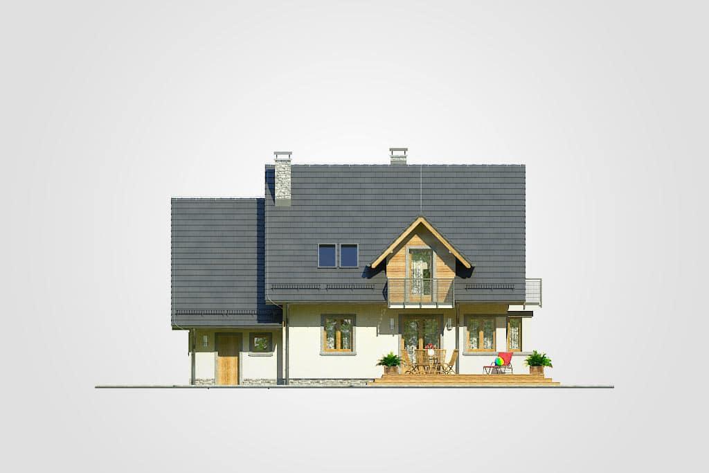 Фасад мансардного дома с гаражом, террасой и балконом «КМ-70» - сзади