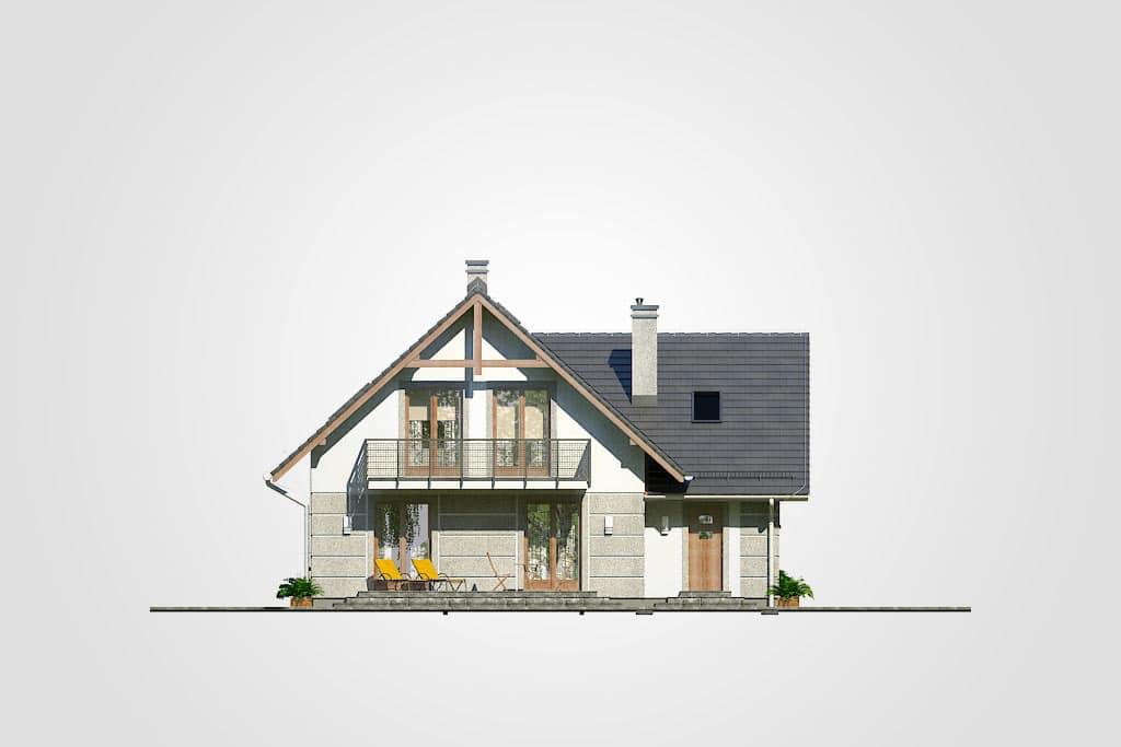 Фасад мансардного дома с гаражом, террасой и балконом «КМ-71» -сзади