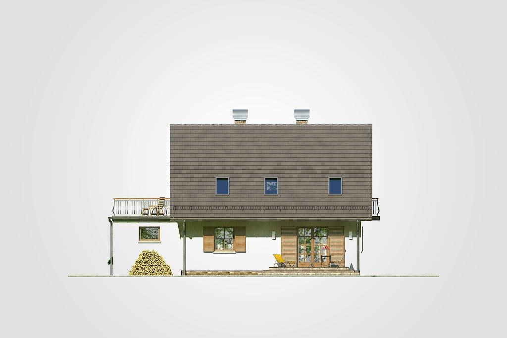 Фасад мансардного дома с гаражом, террасой и балконом «КМ-73» - сзади