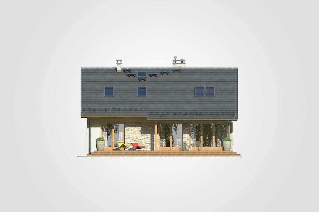 Фасад мансардного дома с террасой «КМ-75» - сзади