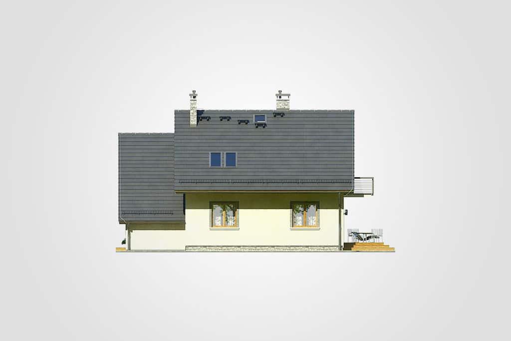Фасад мансардного дома с гаражом, террасой и балконом «КМ-78» - сзади