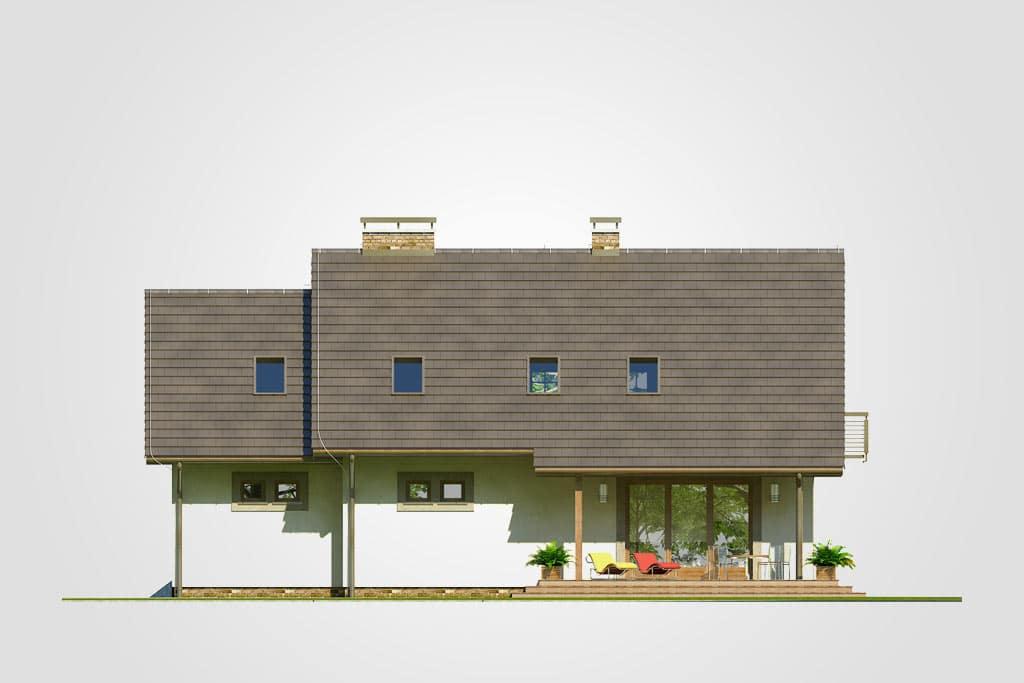 Фасад мансардного дома с гаражом, террасой и балконом «КМ-79» - сзади