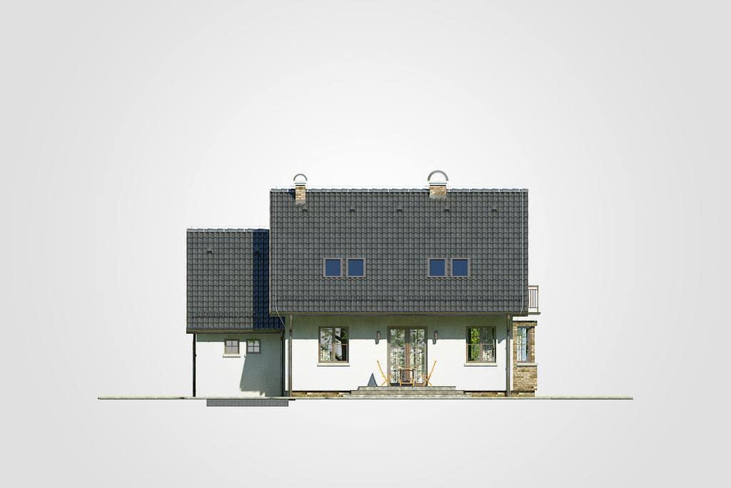 Фасад мансардного дома с гаражом, террасой и балконом «КМ-83» - сзади