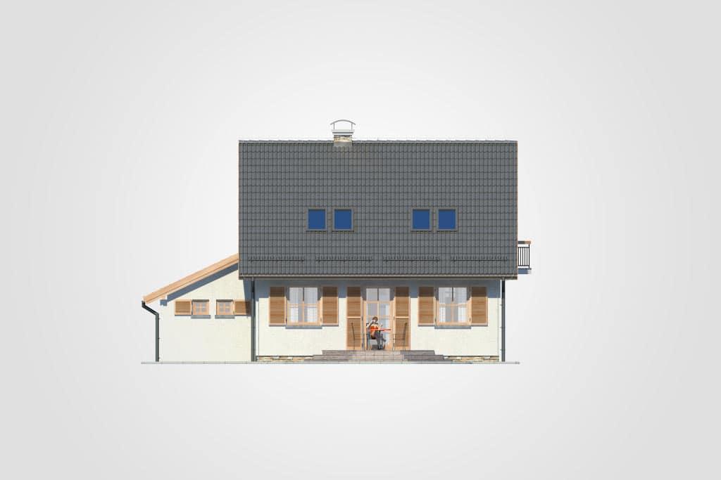 Фасад мансардного дома с гаражом, террасой и балконом «КМ-85» - сзади