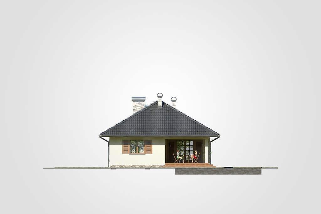 Фасад одноэтажного дома с гаражом и террасой «КО-81» - слева