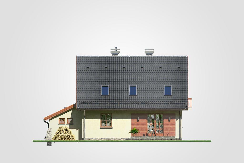 Фасад мансардного дома с гаражом, террасой и балконом «КМ-89» - сзади