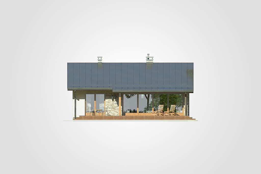 Фасад одноэтажного дома с террасой «КО-82» - сзади