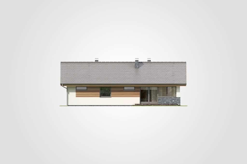 Фасад одноэтажного дома с гаражом и террасой «КО-83» - сзади