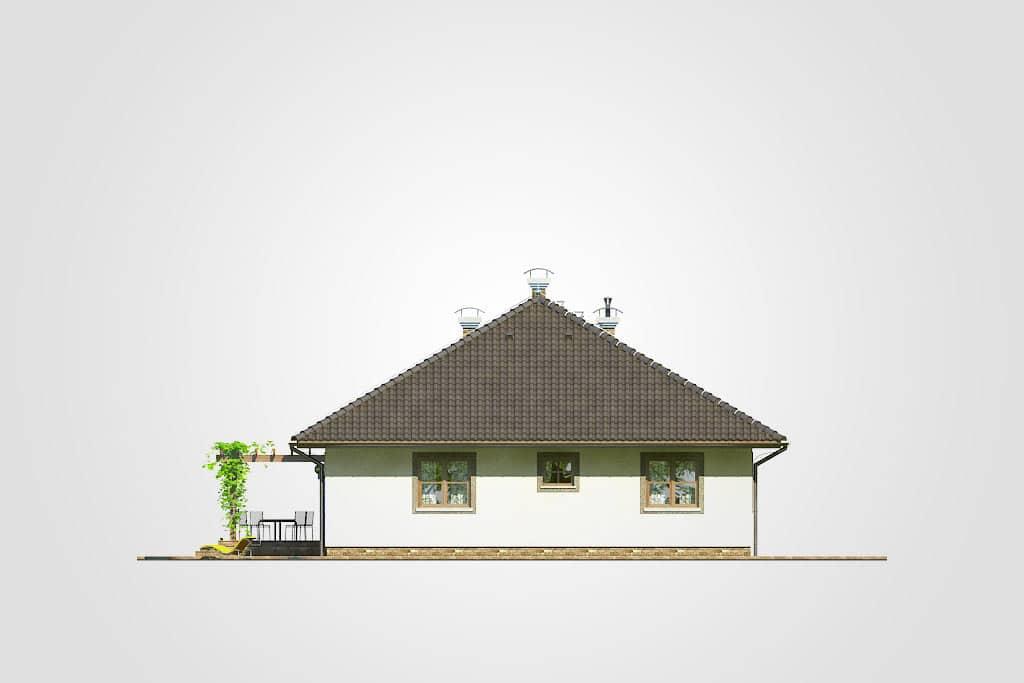 Фасад одноэтажного дома с террасой «КО-84» - сзади