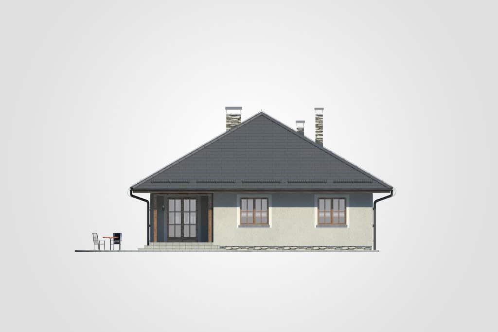 Фасад одноэтажного дома с гаражом и террасой «КО-75» - сзади