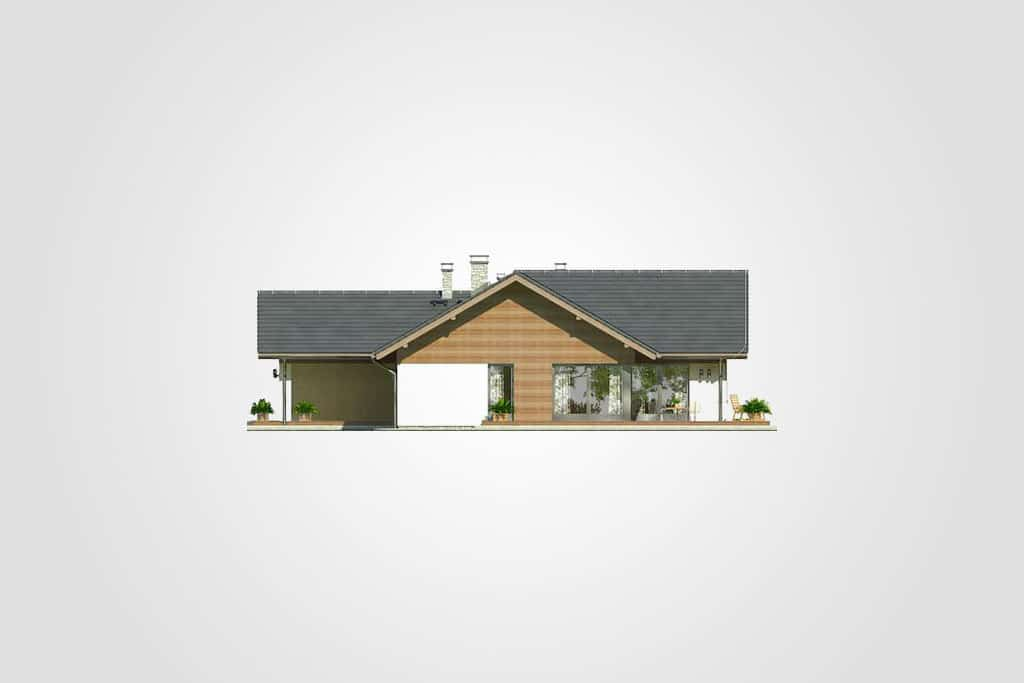 Фасад одноэтажного дома с террасой и гаражом «КО-76» - спереди