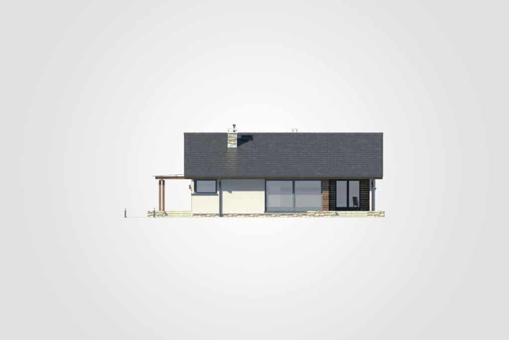 Фасад одноэтажного дома с террасой «КО-89» - сзади