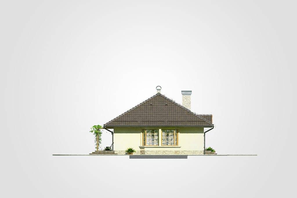 Фасад одноэтажного дома с гаражом и террасой «КО-90» - справа