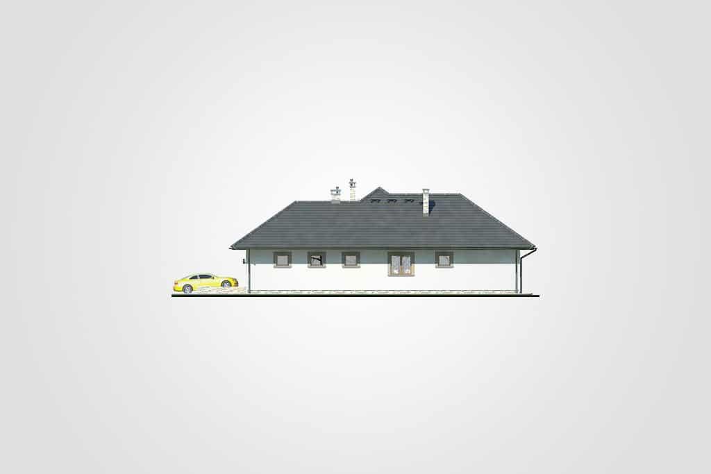 Фасад одноэтажного дома с гаражом и верандой «КО-92» - справа