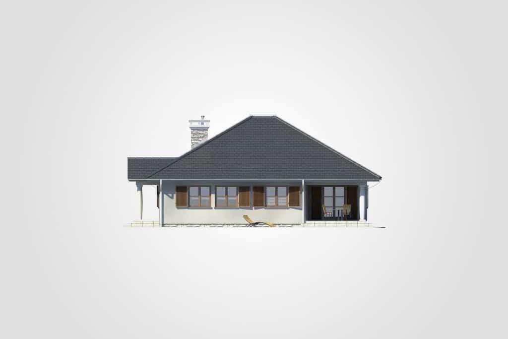 Фасад одноэтажного дома с террасой «КО-77» - справа