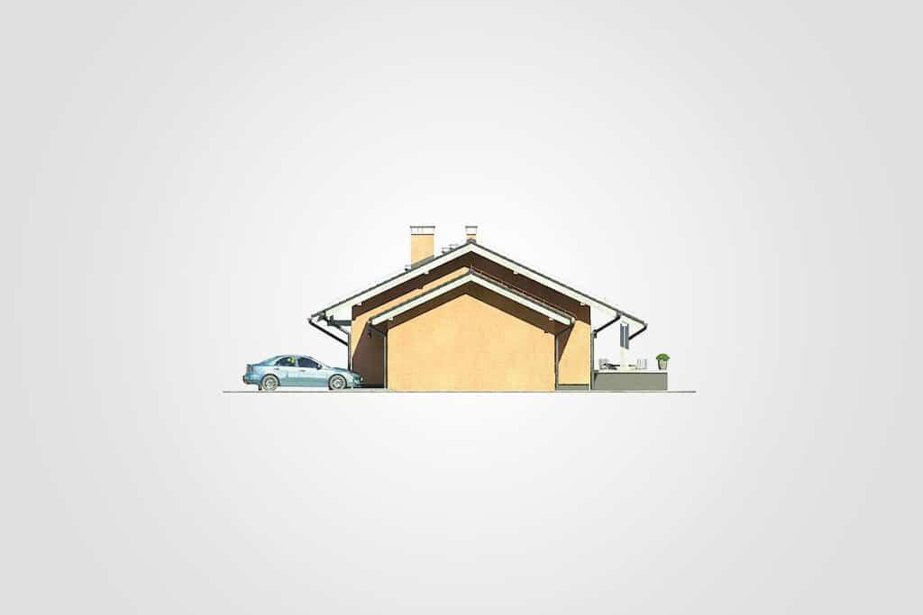 Фасад одноэтажного дома с гаражом и террасой «КО-100» - справа