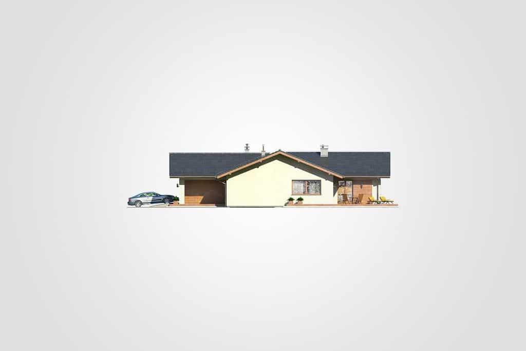 Фасад одноэтажного дома с гаражом и террасой «КО-110» - спереди