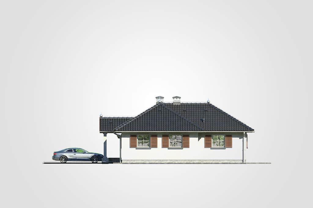 Фасад одноэтажного дома с террасой «КО-114» - справа