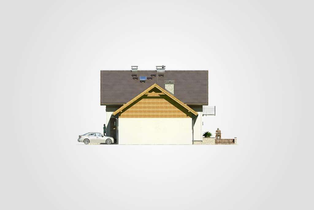 Фасад мансардного дома с гаражом, террасой «КМ-65» справа