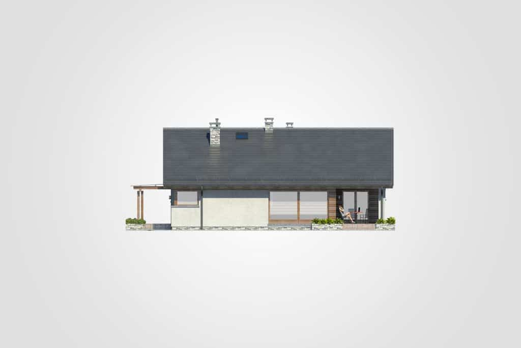 Фасад одноэтажного дома с террасой «КО-79» - сзади
